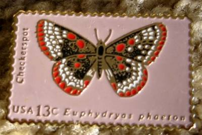 Checkerspot butterfly stamp pin lapel pins hat 1713