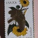 Kansas Western Meadowlark Sunflower stamp pin hat 1968 S
