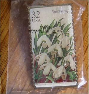 Snowdrop Garden Flower stamp pin lapel pins hat 3028 s