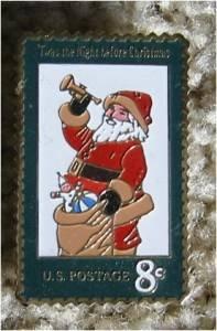 Santa Claus 1972 Christmas Stamp pin . lapel pins 1472
