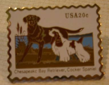 Retriever Spaniel stamp pin lapel pins hat 2099