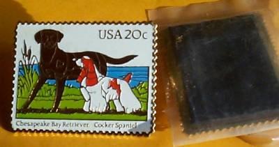 Retriever Spaniel stamp magnet dogs cloisonné 2099mg
