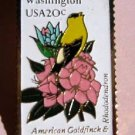 Washington Goldfinch Rhododendron stamp pin lapel 1999