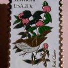 Vermont Hermit Thrush Red Clover stamp pin lapel 1997