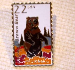 Alaskan Brown Bear Wildlife stamp pin lapel pins 2310