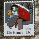 Christmas Rural Mailbox stamp pin hat lapel pins 1730