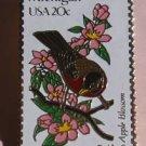 Michigan Robin Apple Blossom bird stamp pin lapel 1974 s