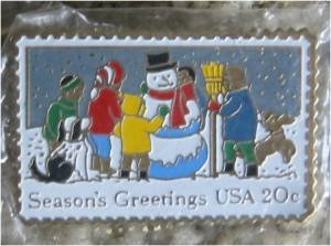Children Snowman Christmas cloisonne stamp pin 2028