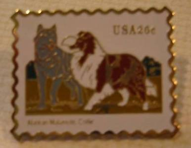Malamute Collie stamp pin lapel cloisonné hat 2100s
