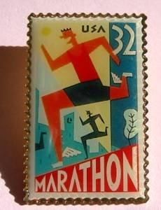 Marathon Stamp Pin lapel pins hat tie tac new 3067 S