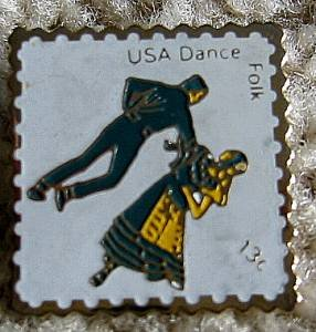 Folk Dance stamp pin lapel pins hat collectible 1751