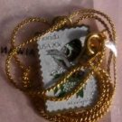 Florida Mockingbird Orange stamp necklace pendant 1961n