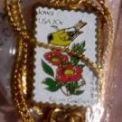 Iowa Eastern Goldfinch Wild Rose stamp necklace 1967n