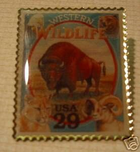 Western Wildlife Buffalo stamp pins lapel pin hat 2869p s