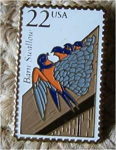 Barn Swallow Wildlife stamp pin lapel hat tie tac 2286