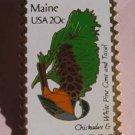 Maine Chickadee White Pine stamp pins lapel pin 1971