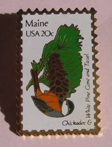 Maine Chickadee White Pine stamp pins lapel pin 1971