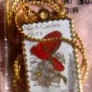 North Carolina Cardinal Dogwood NC stamp necklace 1985n