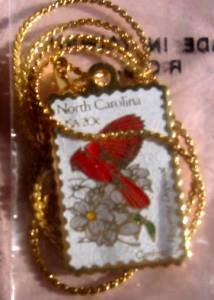 North Carolina Cardinal Dogwood NC stamp necklace 1985n