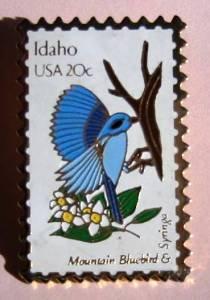 Idaho Mountain Bluebird Syringa ID stamp pin lapel pins 1964 s