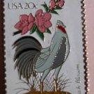 Delaware Blue Hen Chicken Peach stamp pins lapel pin 1960 s