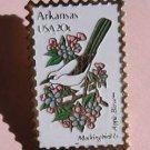 Arkansas Mockingbird Apple blossom stamp pin lapel pins 1956