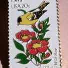 Iowa Eastern Goldfinch Wild Rose stamp pin lapel 1967 S