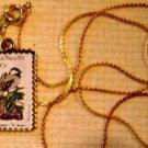 Massachusetts Chickadee stamp necklace pendant 1973n