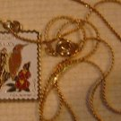 Alabama AL Yellowhammer Camellia stamp necklace 1953n
