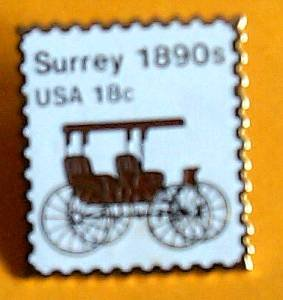 Surrey transportation stamp pin lapel pins hat new 1907