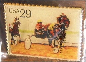 Harness Racing Horse Stamp pin lapel pins hat 2758 S