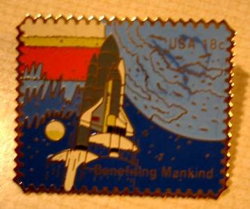 Columbia Space Shuttle Liftoff stamp pin lapel hat 1917