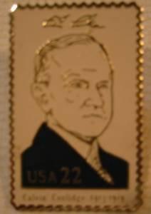 Calvin Coolidge lapel stamp pin tie tac hat 2219b S