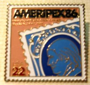 Ben Franklin AMERIPEX 86 stamp pin lapel pins hat 2145 s