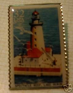 Spectacle Reef Lighthouse Lake Huron stamp pin new 2971 S