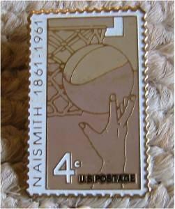 Naismith Basketball stamp pin lapel pins hat new 1189