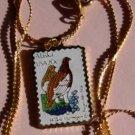 Alaska Ptarmigan Forget-me-not stamp necklace 1954n