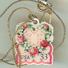Victorian Love Wreath stamp necklace pendant 3274n s