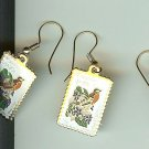 Wisconsin Robin Wood Violet stamp earrings 2001ew NIP s