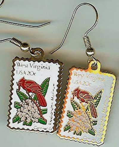 West Virginia Cardinal Rhododendron stamp earrings 2000ew s