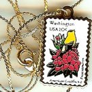 Washington Goldfinch stamp necklace pendant 1999n s