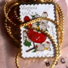 Virginia Cardinal Dogwood stamp necklace 1998n NIP s