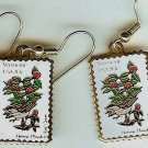 Vermont Hermit Thrush Red Clover stamp earrings 1997ew s