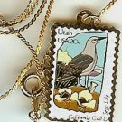 Utah Gull Sego Lily stamp necklace pendant 1996n s