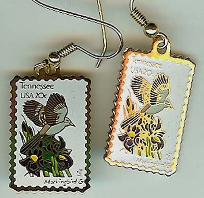 Tennessee Mockingbird Iris stamp earrings 1994ew NIP s