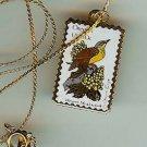 Oregon Western Meadowlark stamp necklace pendant 1989n s