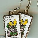 New Jersey Goldfinch Violet stamp earrings 1982ew NIP s