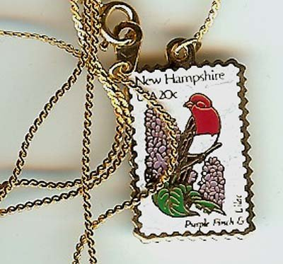 New Hampshire Purple Finch stamp necklace pendant 1981n S