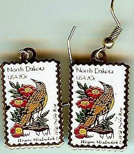 North Dakota Meadowlark Rose stamp earrings 1986ew NIP s