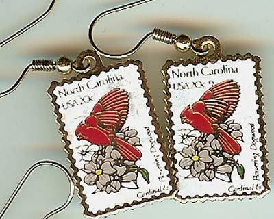 North Carolina Cardinal Dogwood stamp earrings 1985ew s